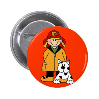 Firefighter and Dog 2 Inch Round Button