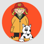 Firefighter and Dog Classic Round Sticker