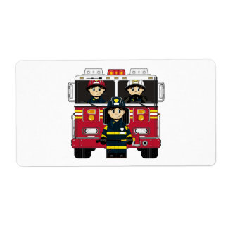 Firefighter and Fire Engine Sticker Label