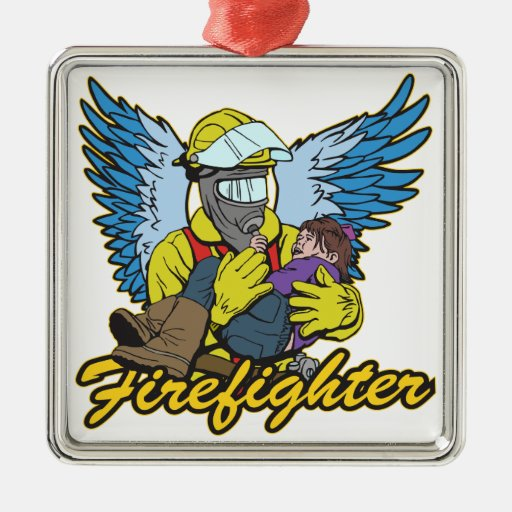 Firefighter Angel Metal Ornament