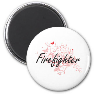Firefighter Artistic Job Design with Butterflies 2 Inch Round Magnet
