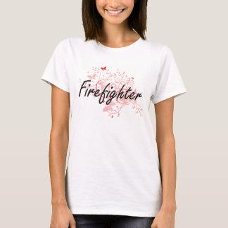 Firefighter Artistic Job Design with Butterflies T-Shirt