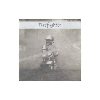Firefighter At Work Stone Magnet