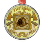 FireFighter Ax Shield premium round ornament