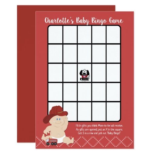 Firefighter Baby Boy Bingo Game Card