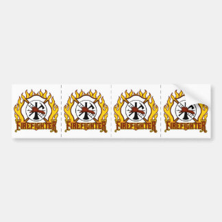 Firefighter Badge and Fire Bumper Sticker