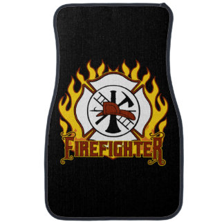Firefighter Badge and Fire Car Floor Mat