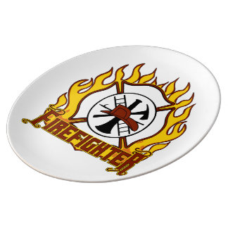 Firefighter Badge and Fire Porcelain Plate