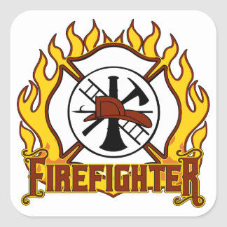 Firefighter Badge and Fire Square Sticker