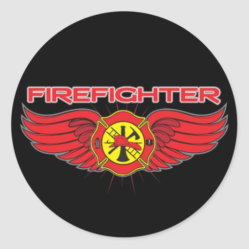 Firefighter Badge and Wings Classic Round Sticker