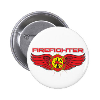 Firefighter Badge and Wings Pinback Button