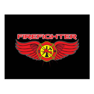 Firefighter Badge and Wings Postcard