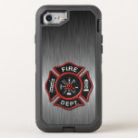 "Firefighter Badge Deluxe OtterBox Defender iPhone 8/7 Case<br><div class=""desc"">Beautiful modern Fire Department logo. Great for firemen and first responders. Brushed aluminum metallic texture design phone case.</div>"