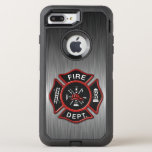 "Firefighter Badge Deluxe OtterBox Defender iPhone 8 Plus/7 Plus Case<br><div class=""desc"">Beautiful modern Fire Department logo. Great for firemen and first responders. Brushed aluminum metallic texture design phone case.</div>"