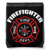 Firefighter Badge Drawstring Bag