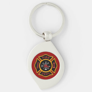Firefighter Badge Fire Engine Red Silver-Colored Swirl Metal Keychain