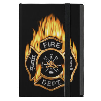 Firefighter Badge Flaming Gold Cases For iPad Mini