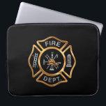 "Firefighter Badge Gold Laptop Sleeve<br><div class=""desc"">Golden Fire Department logo badge. Great for firemen and first responders.</div>"