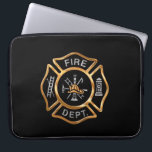 "Firefighter Badge Gold Laptop Sleeve<br><div class=""desc"">Golden Fire Department logo badge. Great for firemen and first responders.</div>"