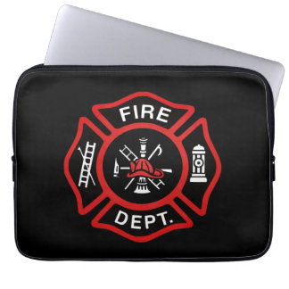Firefighter Badge Red Laptop Computer Sleeves