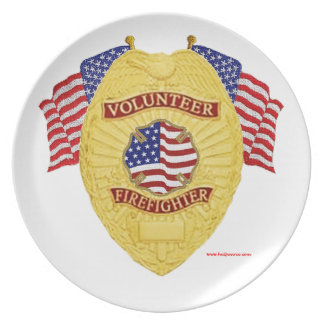 Firefighter_Badge_Volunteer_Gold Party Plates