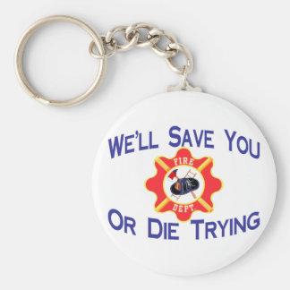 Firefighter Basic Round Button Keychain