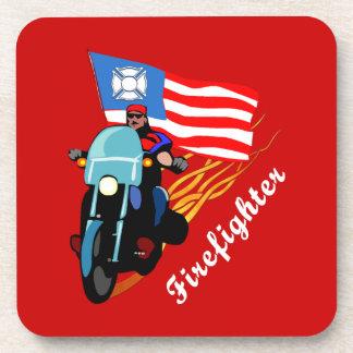 Firefighter Bikers Beverage Coaster