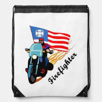 Firefighter Bikers Drawstring Backpack