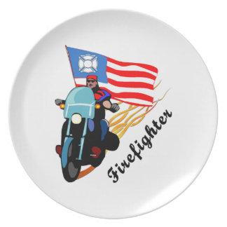 Firefighter Bikers Melamine Plate
