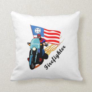 Firefighter Bikers Throw Pillows
