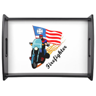 Firefighter Bikers Serving Tray