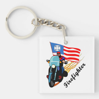 Firefighter Bikers Square Acrylic Keychains