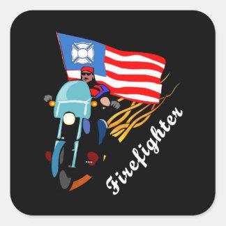 Firefighter Bikers Square Sticker