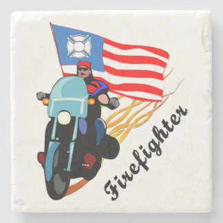 Firefighter Bikers Stone Coaster