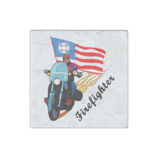 Firefighter Bikers Stone Magnet