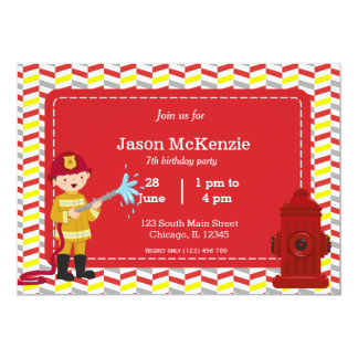 Firefighter birthday boy 5x7 paper invitation card