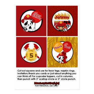 FIREFIGHTER Birthday Cupcake Topper Tags FF02B Post Cards