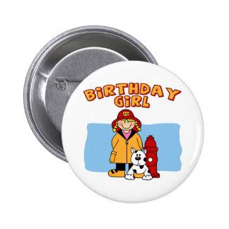 Firefighter Birthday Girl 2 Inch Round Button