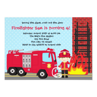Firefighter Birthday Invitation Fireman Truck Boy