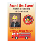 "Firefighter Birthday Party Invitation 5"" X 7"" Invitation Card"