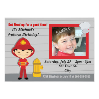 "Firefighter Birthday Party 5"" X 7"" Invitation Card"