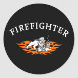 Firefighter Bull Dog Tough Classic Round Sticker