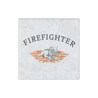 Firefighter Bull Dog Tough Stone Magnet