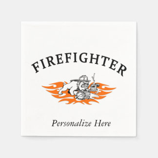 Firefighter Bull Dog Tough Paper Napkin