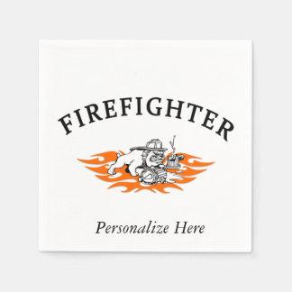 Firefighter Bull Dog Tough Paper Napkin