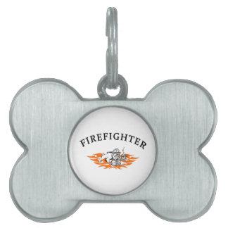 Firefighter Bull Dog Tough Pet Name Tag
