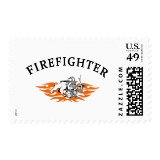 Firefighter Bull Dog Tough Postage Stamps