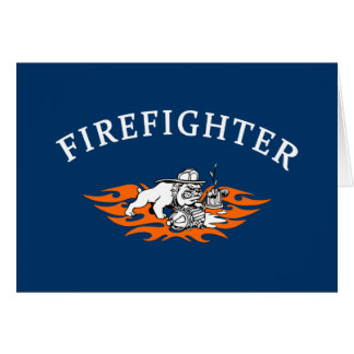 Firefighter Bull Dog Tough Stationery Note Card