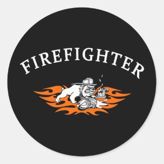 Firefighter Bull Dog Tough Classic Round Sticker