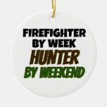 Firefighter by Day Hunter by Weekend Double-Sided Ceramic Round Christmas Ornament